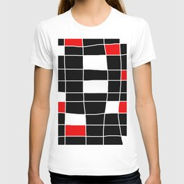 Rectangles white and red - black background T-shirt