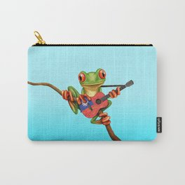 Tree Frog Playing Acoustic Guitar with Flag of Taiwan Carry-All Pouch