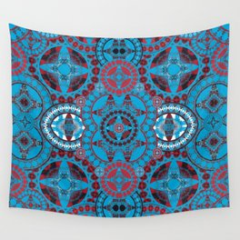 Deep Coral and Blue Mega Mandala Wall Tapestry