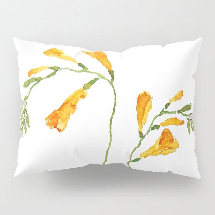 orange freesia watercolor Pillow Sham