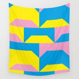 Trapezi e altre forme. Rosa, azzurro, giallo. Sembrano piccoli ponti per bambini, fatti in legno. Wall Tapestry