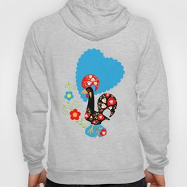 Portuguese Rooster of Luck with blue dots Hoody