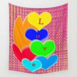 coloured love hearts Wall Tapestry