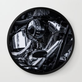 Vintage Classic Motorcycle Black and White Photographic Wall Clock