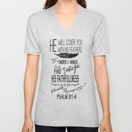 Psalm 91:4 Christian Bible Verse Typography Design Unisex V-Neck