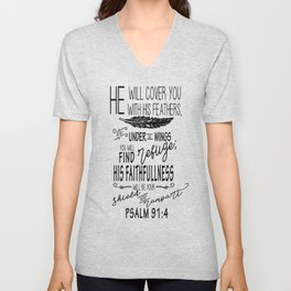 Psalm 91:4 Christian Bible Verse Typography Design Unisex V-Neck