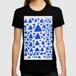 Blue Triangles Abstract Minimal Art T-shirt