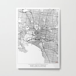 Melbourne Map White Metal Print