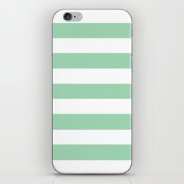 Turquoise green - solid color - white stripes pattern iPhone Skin