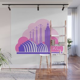Kansas City in the Clouds - Pink and Purple Wall Mural