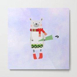 Cute Bear in Winter Wear Holding Umbrella Metal Print