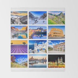 World travel collage Throw Blanket