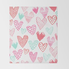 Hearts hand drawn heart pattern valentines day love gifts home decor hipster girls Throw Blanket