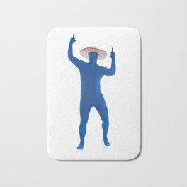 Humorous Man In Blue Bodysuit With Sombrero Bath Mat