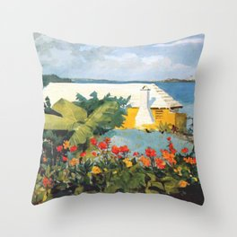 Flower Garden And Bungalow Bermuda 1889 By WinslowHomer | Reproduction Throw Pillow