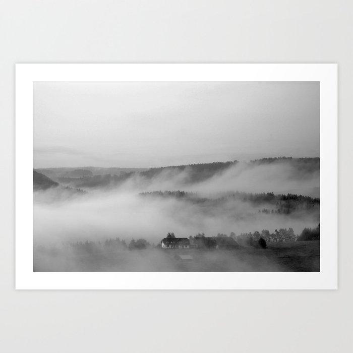 Landscape with fog Art Print