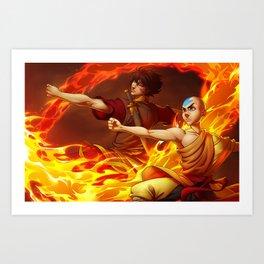 Aang and Zuko Art Print