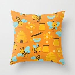 Cute Honey Bee Pattern Throw Pillow