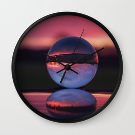 Sunrise in the countryside captured in a sphere. Wall Clock