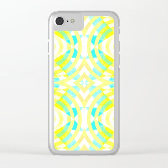 Funky geometry in yellow and blue Clear iPhone Case