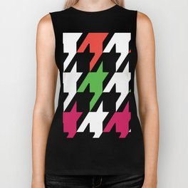 Jumbo Scale Neon Colors Houndstooth Pattern Biker Tank
