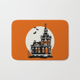 Vintage Style Haunted House - Happy Halloween Bath Mat