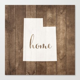 Utah is Home - White on Wood Canvas Print