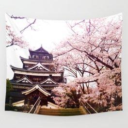 Hiroshima Castle (Cherry Blossom) Wall Tapestry