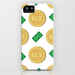 Eastern Caribbean dollar EC$ code XCD banknote and coin pattern wallpaper iPhone Case