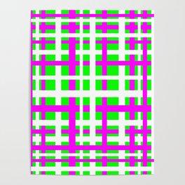 Fuchsia & Green Interlocking Stripes Poster