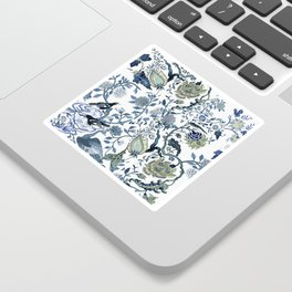 Blue vintage chinoiserie flora Sticker