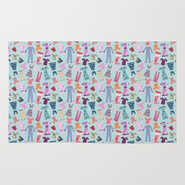 Dress Papercut Pattern - blue Rug