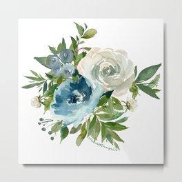 Blue & White Floral Cluster Metal Print