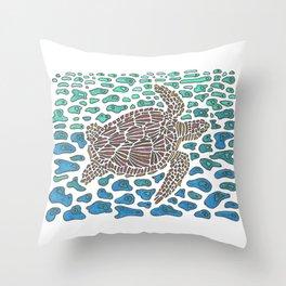 Vanishing Sea Turtle by Black Dwarf Designs Throw Pillow