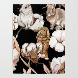 Cotton Flower & Rabbit Pattern on Black 01 Poster