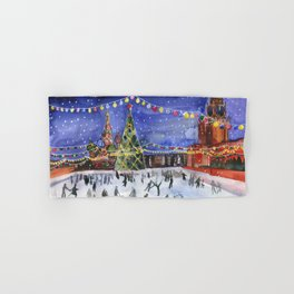 Red square. Winter Moscow Hand & Bath Towel