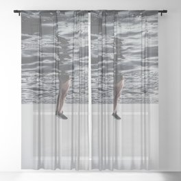 BEACH - BODY - OF - WATER - FEET - PHOTOGRAPHY Sheer Curtain