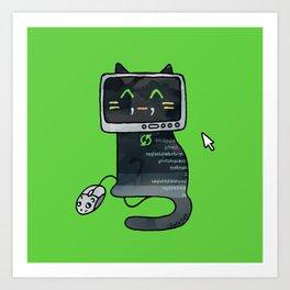 Programmer cat  makes a website Art Print