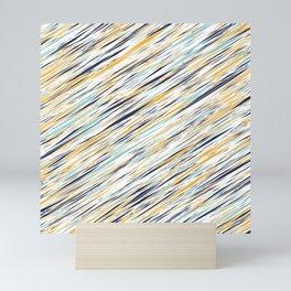 Yellow gray and blue scribe lines pattern Mini Art Print