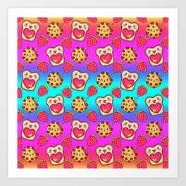 Cute funny sweet adorable happy Kawaii toast with raspberry jam and butter, chocolate chip cookies, red ripe summer strawberries cartoon fantasy rainbow blue pattern design Art Print
