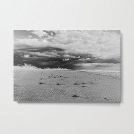 Thunderstorm Passing By Cloudy Sky Hvide Sande Beach Denmark bw Metal Print