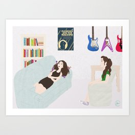 girls in the moon Art Print