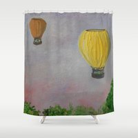 hot air balloon Shower Curtains featuring Hot Air Balloon Adventure by RokinRonda