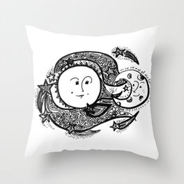 The Sun and Her Sunshine Throw Pillow