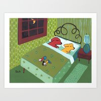 Night Time with Dogs Art Print