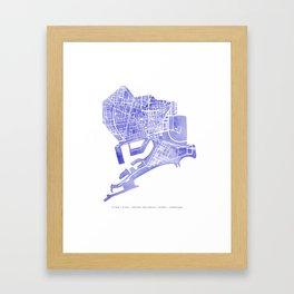 Barcelona map: Ciutat Vella (indigo) Framed Art Print
