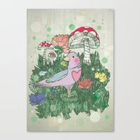 woodland Canvas Prints featuring Woodland by Jo Cheung Illustration