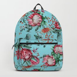King protea flowers watercolor illustration Backpack