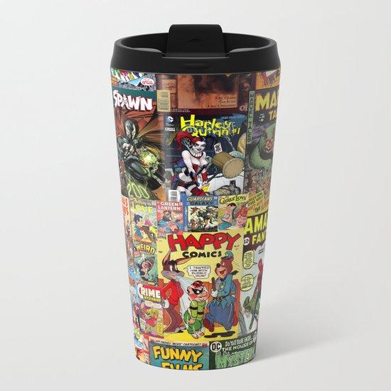 Comic Book Cover Collage Metal Travel Mug