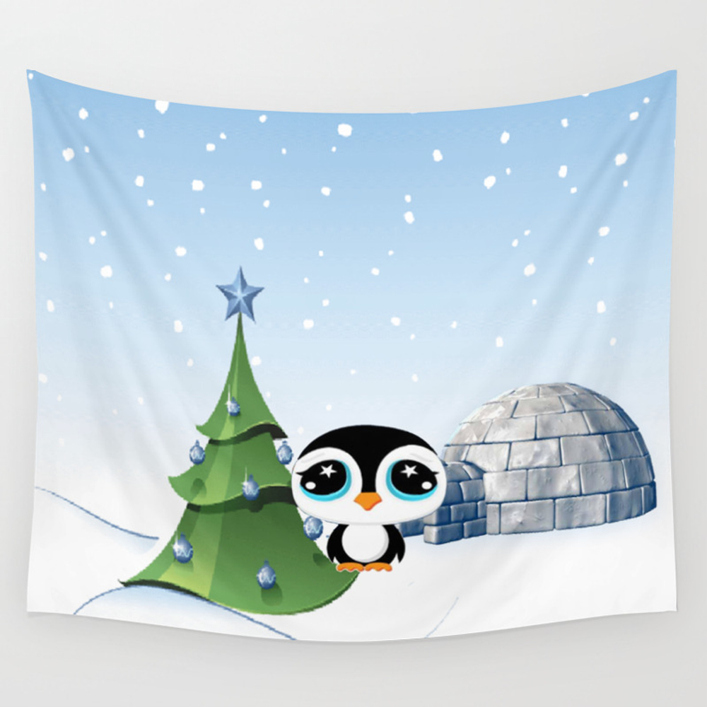 Cartoon Penguin With Igloo Illustration Wall Tapestry by Artisticallyhome TPS2632391